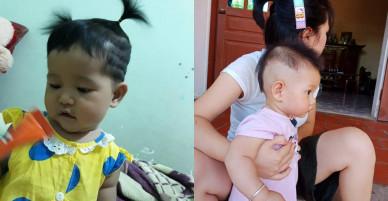 """Mẹ chỉ chợp mắt nửa tiếng, bố đã tranh thủ tạo kiểu tóc cho cô công chúa để bắt kịp xu hướng của """"thần tượng"""""""