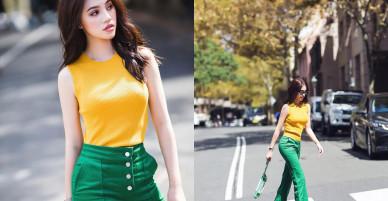 Cách mặc áo thun tôn vòng eo 54cm của Jolie Nguyễn