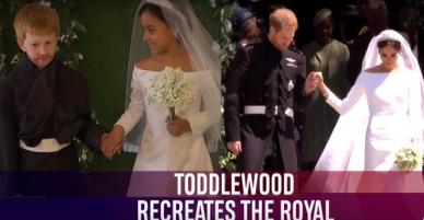 Cặp đôi nhí cosplay đám cưới Hoàng gia chuẩn đến từng bông hoa, nếp áo