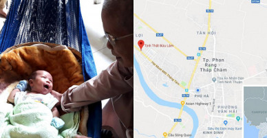 Bé trai sơ sinh bị bỏ trước cổng chùa cùng túi quần áo