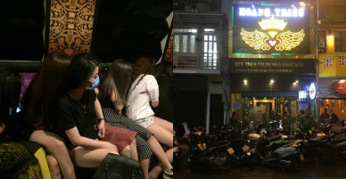 """Bị kiểm tra,nữ nhân viên quán karaoke mặc """"thiếu vải"""" chạy tán loạn"""
