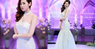 Ngắm Á hậu Tú Anh mặc váy cưới gợi cảm trước tin đồn chuẩn bị lấy thiếu gia giàu có