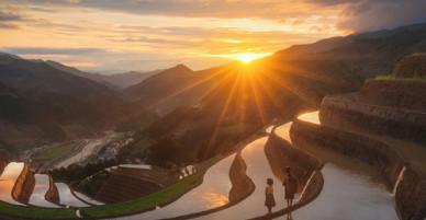Những ruộng bậc thang đẹp ở Mù Cang Chải mùa nước đổ