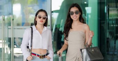 Chi Pu đọ vẻ sành điệu với Đỗ Mỹ Linh ở sân bay