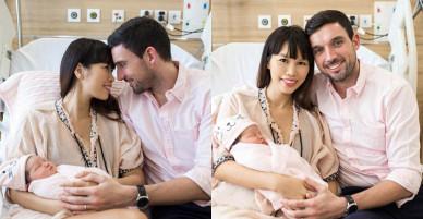 Siêu mẫu Hà Anh và chồng Tây hạnh phúc bên con gái 1 tuần tuổi