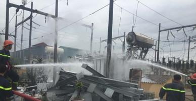 Cháy trạm biến áp 110KV, thành phố Bắc Ninh bị mất điện diện rộng