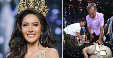 Cô giáo Thái quỳ lạy biết ơn bố mẹ khi đăng quang hoa hậu