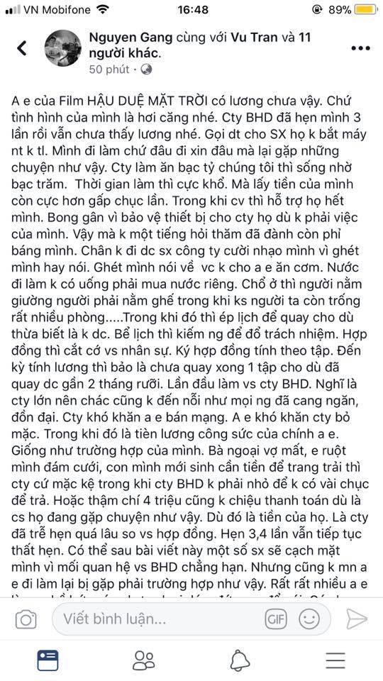 hậu duệ mặt trời bản Việt, BHD, quịt tiền, nhân viên, tin8