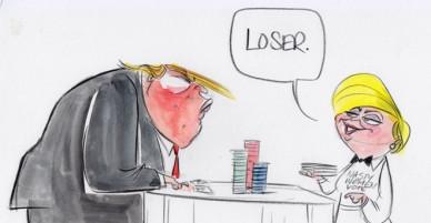 Donald Trump trở thành 'người đàn bà xấu tính' qua tranh biếm họa