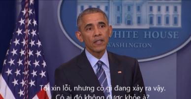 Tổng thống Obama đột ngột dừng họp báo để giúp một phóng viên bị ốm