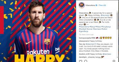 Dường như Messi đã quên cơn ác mộng World cup để đón sinh nhật trong sự yêu mên của fan