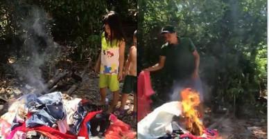 """[Clip] Vợ bỏ con theo nhân tình, chồng uất nghẹn quay clip đốt hết quần áo """"xịn"""" để """"triệu hồi"""" vợ về giải quyết"""
