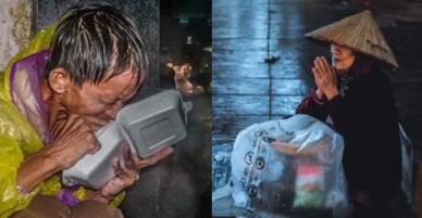 Đêm bão 25-11: Xót xa những hình ảnh nguười vô gia cư chống chọi dưới mưa lớn.