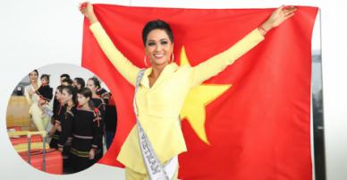 Động lòng hình ảnh H'hen Niê khoác quốc kì được bà con người Ê Đê tiễn lên đường đi thi Miss Universe 2018